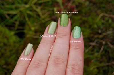 "Comparaison des holos verts ""herbe"" Dance Legend Inhale EP march 2014 FUN Mowed Meadow et FUN tiana princess collection lumière naturelle (outdoors)"
