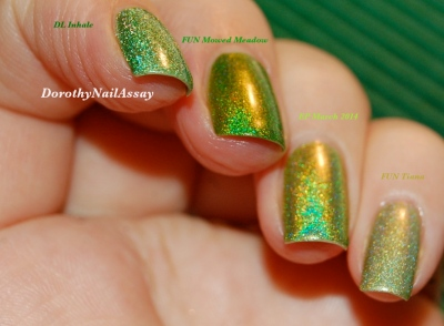 "Comparaison des holos verts ""herbe"" Dance Legend Inhale EP march 2014 FUN Mowed Meadow et FUN tiana princess collection lumière artifielle (indoors)"