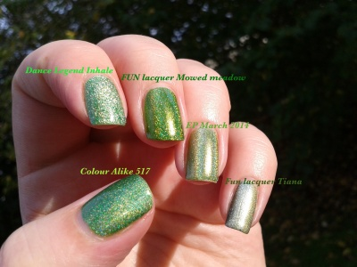 "Comparaison des holos verts ""herbe"" Dance Legend Inhale EP march 2014 FUN Mowed Meadow FUN Tiana et Colour Alike 517 lumière naturelle (outdoors)"