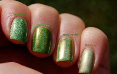 "Comparaison des holos verts ""herbe"" Dance Legend Inhale EP march 2014 FUN Mowed Meadow et FUN tiana princess collection lumière naaturelle (outdoors)"