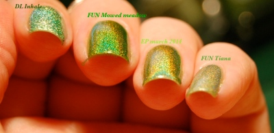 "Comparaison des holos verts ""herbe"" Dance Legend Inhale EP march 2014 FUN Mowed Meadow et FUN tiana princess collection lumière artificielle (indoors)"