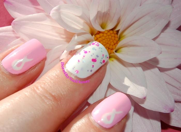 Nailstorming Octobre Rose gros plan: Floss Goss Perf, Glam Polish Aquanaut, Essie Blanc