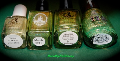 "Comparaison des holos verts ""herbe"" Dance Legend Inhale EP march 2014 FUN Mowed Meadow et FUN tiana princess collection"