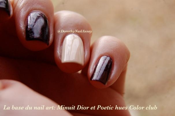 """Nail Art """"minuit"""" l'heure du crime"""" pour Minuit, diorific, Christian Dior outdoor en lumière naturelle"""