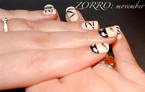 movember nail art zorro