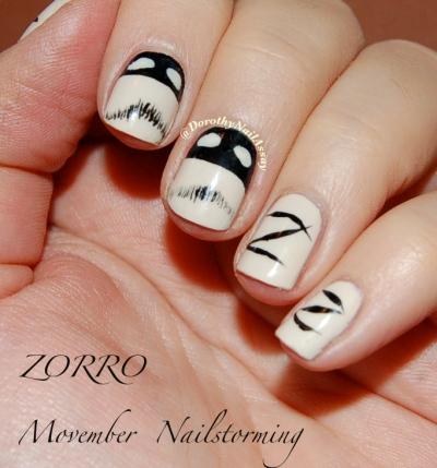 movember Zorro nailart