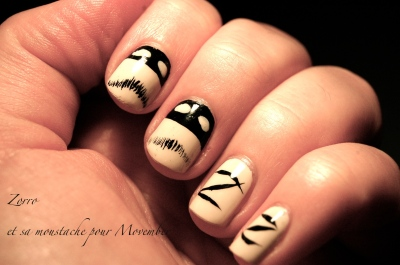 nail art zorro pour movember