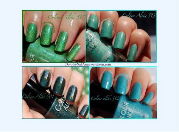 review swatch Colour Alike green and blue