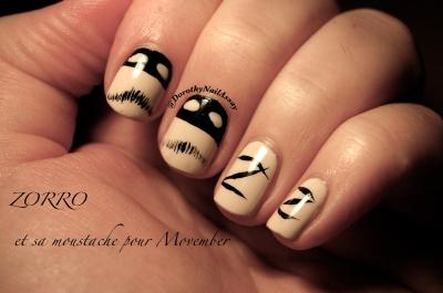 zorro nail art pour movember