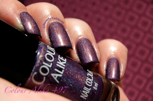 Swatch Colour Alike 497,2 coats, no topcoat, indoors artificial lightning.