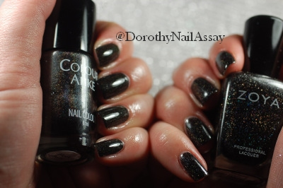 Colour Alike Black Saint swatch comparison with Zoya Storm, artificial lightening