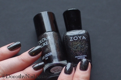 Colour Alike Black Saint comparison with Zoya Storm, natural lightening