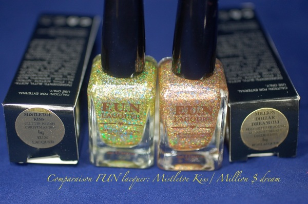 comparaison FUN lacquer mistletoe kiss million dolar dream swatch 3