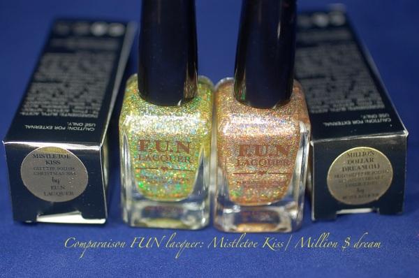 comparaison FUN lacquer mistletoe kiss million dolar dream swatch 3