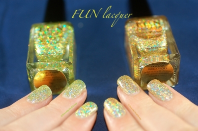 comparaison FUN lacquer mistletoe kiss million dolar dream swatch 6