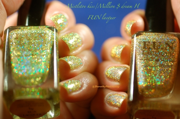 comparaison FUN lacquer mistletoe kiss million dolar dream swatch4
