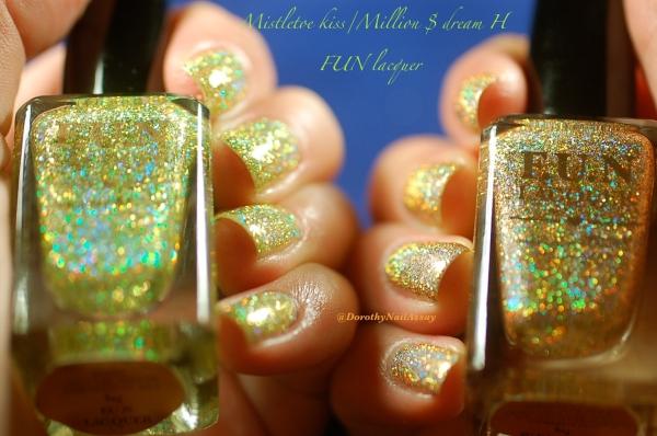 comparaison FUN lacquer mistletoe kiss million dolar dream swatch4