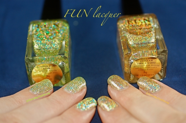 comparaison FUN lacquer mistletoe kiss million dolar dream swatch5