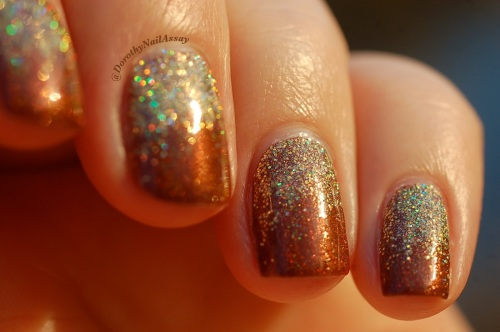 Fun lacquer gradient merida et million dollar dream. Sunlight, outdoors.