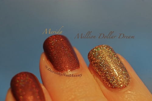 Merida accent nail million dollar dream fun lacquer, sunlight, outdoors.