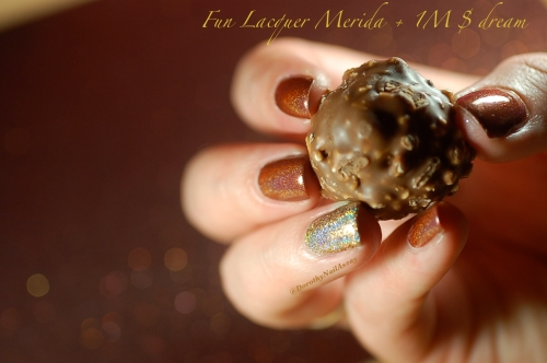 Chocolate manicure, Merida accent nail million dollar dream fun lacquer, artificial lightening, indoors.