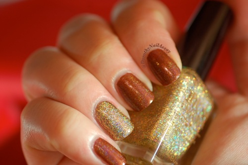 Merida accent nail million dollar dream fun lacquer, artificial lightening, indoors.