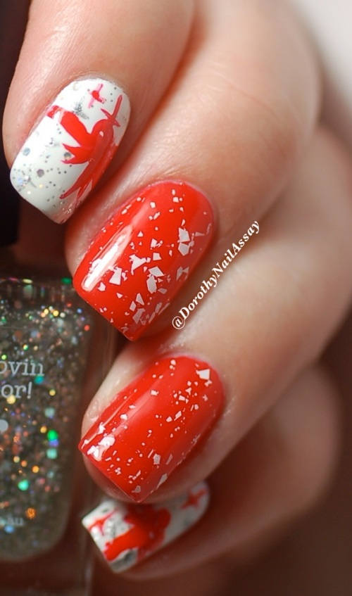 Nail art inspired by christmas Chocolates , with Picture Polish glitter Ball