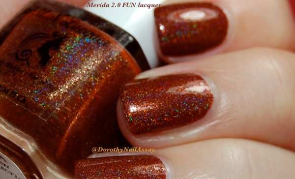 Merida 2,0 princess collection FUN lacquer, indoors artificial lightening. Gorgeous Holo in close up!