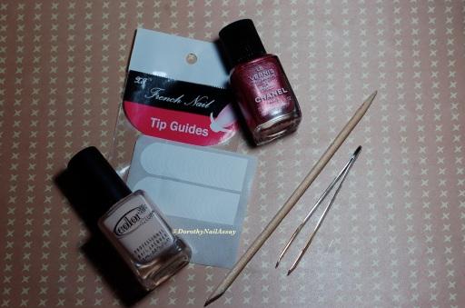 Matériel et Méthode: Nail art  french guides tape (nee Jolie shop) mani with Color club poetic hues+ Chanel Sirocco