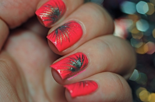 Nail art Fireworks freehand with Picture Polish Hot Lips & Rimmel Your Majesty, with low light.