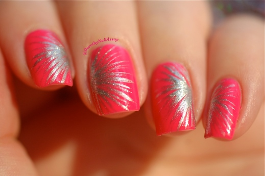 Nail art Fireworks freehand with Picture Polish Hot Lips & Rimmel Your Majesty, natural sunlight , outdoors.