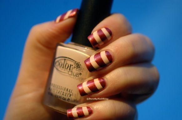 Nail art Marsala tape with french guides tape mani with Color club poetic hues+ Chanel Sirocco, sunset light.