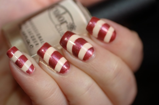 Nail art Marsala tape with french guides tape (nee Jolie shop) mani with Color club poetic hues+ Chanel Sirocco, artificial light.