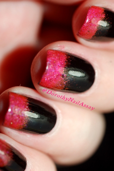 New year eve nail art, gradient with Aengland Lancelot, Lilypad Bubble Yummo and , indoors artificial lightening.