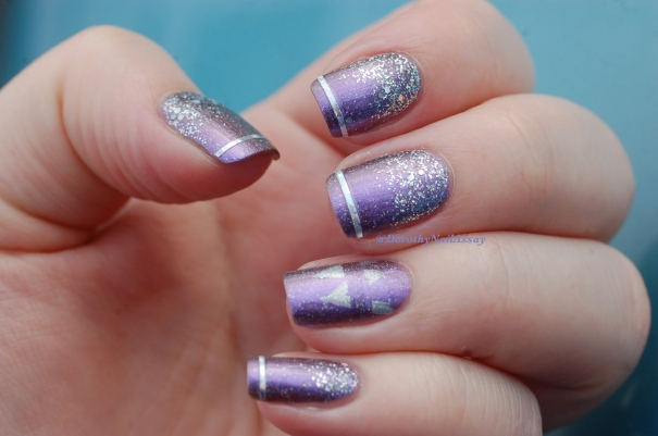 Marine Loves Polish Happy Bday Ozotic  912 glitter gradient (NfuOh GS09 Picture pOlish Glitter Ball), natural light.
