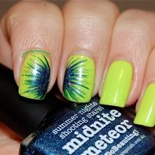 Nail art firewoks technic, Picture Polish Midnite Meteor & Floss Gloss Con limon, artificial lightening indoors.