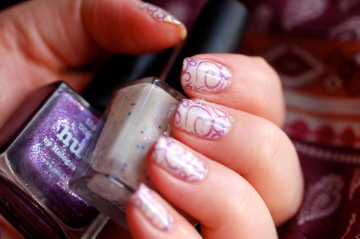 Nail art sweet fairy, Picture Polish Never Nude + stamping with Hussy, natural lightening.