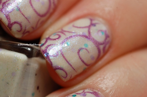 close up  on the Nail art sweet fairy, Picture Polish Never Nude + stamping with Hussy, artificial light.