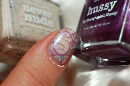 Nail art sweet fairy, Picture Polish Never Nude + stamping with Hussy, artificial light.