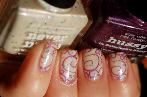 Nail art sweet fairy, Picture Polish Never Nude + stamping with Hussy, natural sunlight.