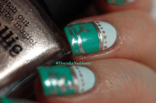 Nail art freehand  inspired by english porcelain  with Picture pOlish Jade and Metallic Mush. Natural sunlight.