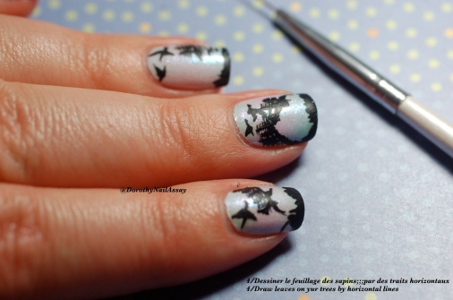 Tutorial  Landscape nail art, step5. draw the details on trees.