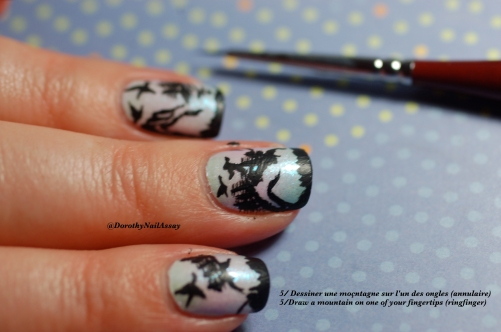 Tutorial  Landscape nail art, step5. draw the mountains.