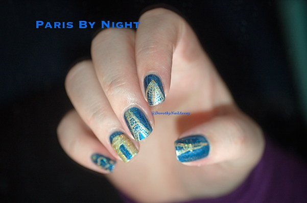 Nail art  PARIS BY NIGHT. Handpainted with gold and Fun lacquer Million Dollar Dream for glitters. Base: Il Etait un Vernis, Crush On Blue. For  the Quiche Girl contest.