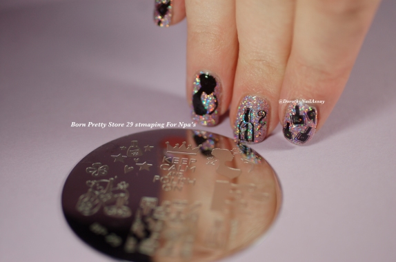 NPA nail art with stamping plate from Née Jolie & Models Own Southern Lights. Artificial light.