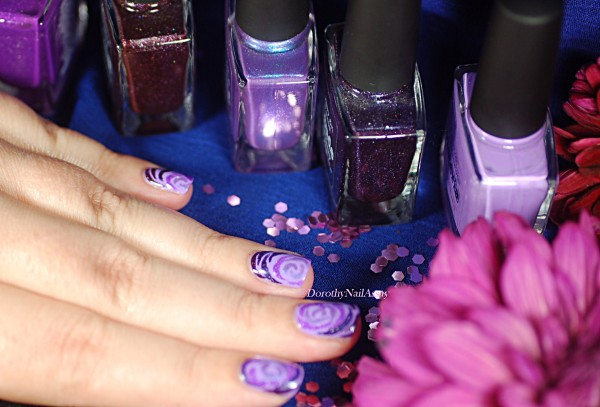 Picture Polish purple roses nail art, freehand.