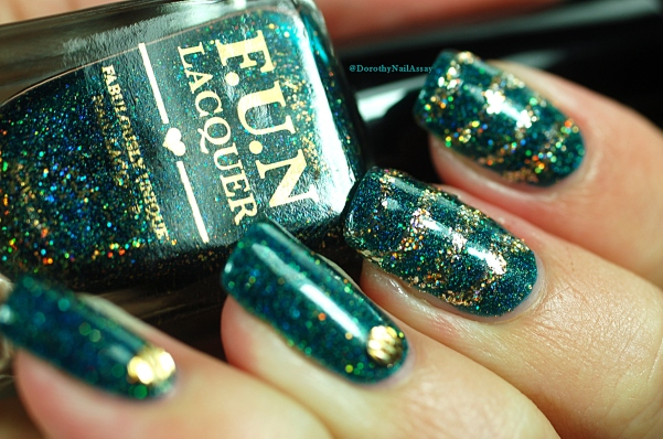Bling bling mani with FUN lacquer Glitzy Glam + King artificial light