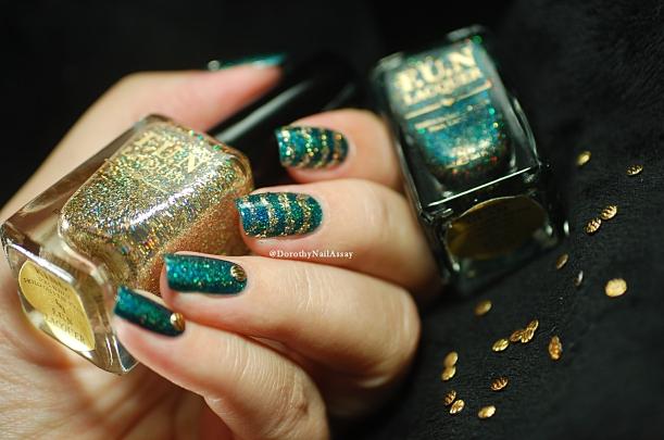Glitzy Glam + King Fun Lacquer+ studs = glitter nail art