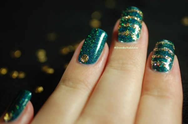 Glitzy Glam + King Fun Lacquer glitter nail art artificial light