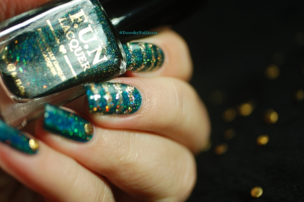 Glitzy Glam + King Fun Lacquer glitter nail art artificial light